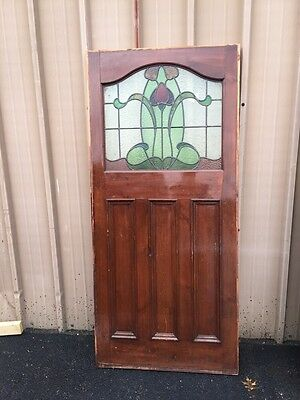 "Cm 76 Antique Stain Glass Floral Paneled Door34.25"" X 75"""