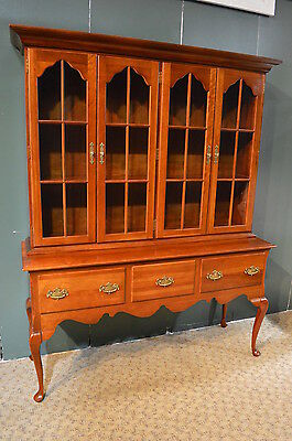 Vintage Cresent Solid Cherry 2 Piece Queen Anne Style China Cabinet