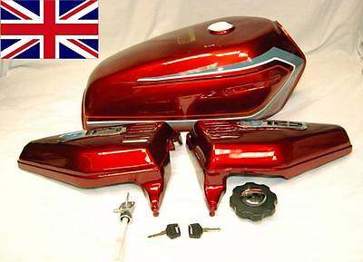 New Red With Stripe Honda Cg125 Cg 125 Tank Side Panels Badges - Fuel Cap & Tap