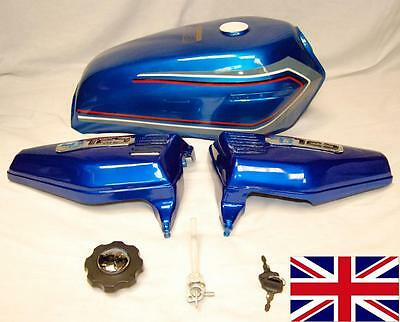 New Blue With Stripe Honda Cg125 Cg 125 Tank Side Panels Badges - Fuel Cap & Tap