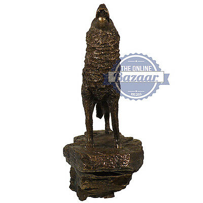 Cold Cast Bronze Howling Wolf statue ornament