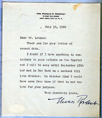 Mrs. Franklin D. Roosevelt / Eleanor Signed Autographed Stationary Letter Jsa