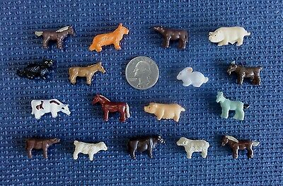 Set of 17~MINIATURE tiny PVC toy craft FARM ANIMALS lot horse cat cow sheep ...