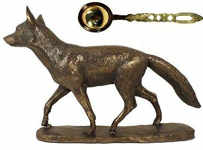 Mr Todd Prowling Fox in Cold Cast Bronze that comes with Brass Lovespoon with Br