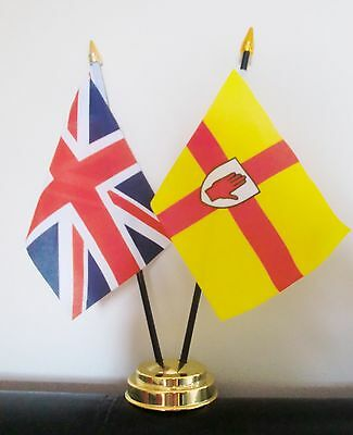 UNION JACK AND ULSTER TABLE FLAG SET 2 flags plus GOLDEN BASE NORTHERN IRELAND