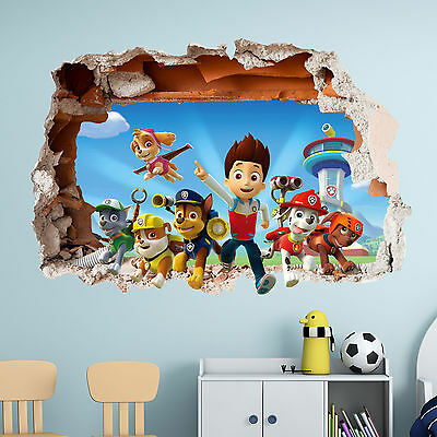 Paw Patrol Wall Sticker 3D Boys Girls Bedroom Vinyl Wall Art Decal