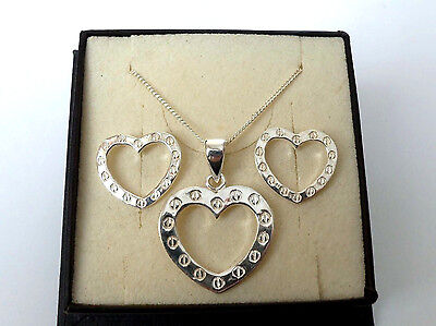 Sterling Silver Heart Earrings and Pendant Necklace Set.