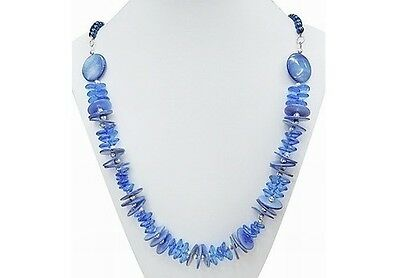 Wholesale Lot 3 Modern Blue Luster Shell & Faux Pearl Beaded Necklaces