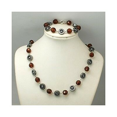 Wholesale Lot 5 Retro 1960s Mod Hematite & Faceted Crystal Bracelet Necklace Set