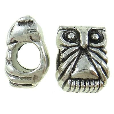 Wholesale Lot 50 Tibetan Silver Figural Owl European Bracelet Spacer Beads