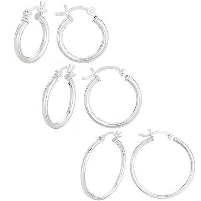 Wholesale Lot Mixed Size & Form Genuine Sterling Silver Hoop Earrings 15 Pairs