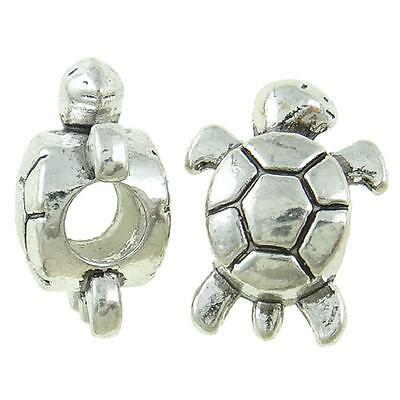 Wholesale Lot 50 Tibetan Silver Figural Turtle Spacer European Bracelet Beads