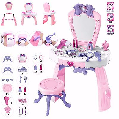 Large Girls Glamour Mirror Toy Game Dressing Table Pretend Play Set Fun Beauty