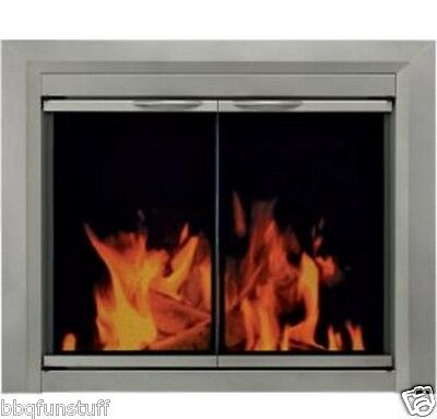 Pleasant Hearth Glass Fireplace Door Colby Nickel Small CB-3300 Mesh Screens