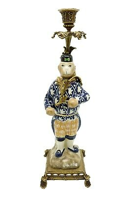 Cute Decorative Chinese Porcelain Monkey Figurine Brass Candle Stick Holder 15""