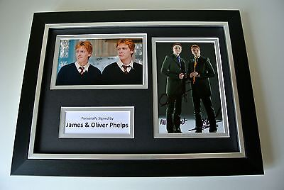James & Oliver Phelps Signed A4 FRAMED photo Autograph display Harry Potter COA