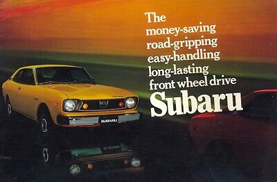 Subaru DL Sedan Station Wagon & Coupe c.1974 - USA market colour brochure