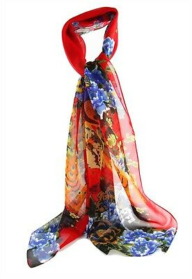 Ladies Scarf Soft Feel Scarf with Butterfly in Red, Yellow, Blue Birds & flowers