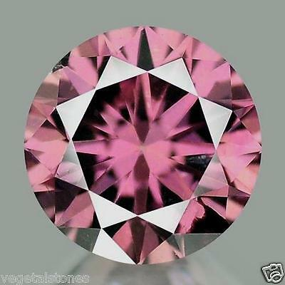 Moissanite rose lie de vin en rond facetté de 2.92Cts