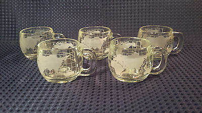 Set of 5 Vintage NESTLE Nescafe World Globe Frosted Coffee Mugs Cups