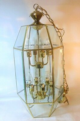 Vtg Brass Hanging Light Fixture Pendant lantern Brass Beveled Glass 10 bulbs
