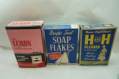 VINTAGE COUNTRY STORE SOAP FLAKES LOT 3 BOX ADVERTISING PROP 1950s BRIGHT SAIL