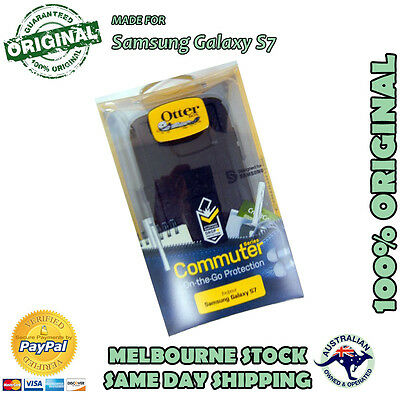 Samsung Galaxy S7 Black Otterbox Otter Commuter Duty Tough Case Cover Bump Shock