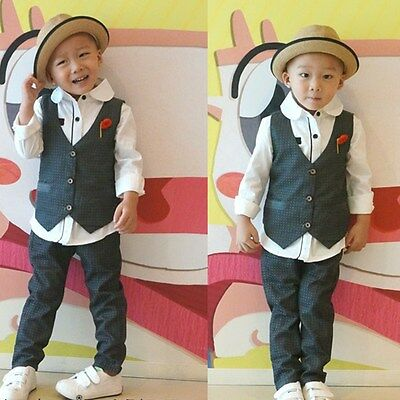 Gentleman Toddler Kids Baby Boy T-Shirt Tops Waistcoat Pants Clothes Set Outfits