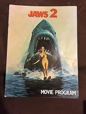 Jaws 2 Original Vintage Movie Program 9x12 Scheider Gary Hamilton Shark VG 1978