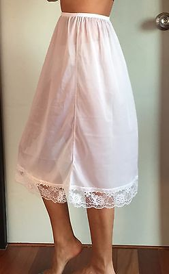 Sheer Nylon Half Slip Petticoat Skirt Lace Detail White Women Underwear