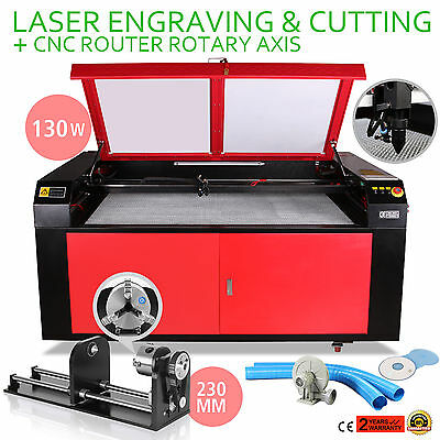 130w Co2 Laser Machine Engraver Cutter Cnc Rotary Axis 230mm Track Wood Working