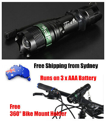 1200Lm Zoomable CREE Q5 LED Flashlight 3XAAA Camping Outdoor Torch Bike Light