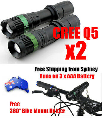 2X 1200Lm Zoomable CREE Q5 LED Flashlight 3XAAA Camping Outdoor Torch Bike Light
