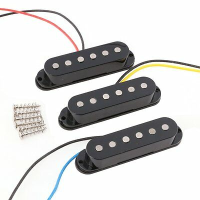 Black 1Set/3Pcs Alnico 5 Alnico V Single Coil Pickup SSS for Strat Style Guitar