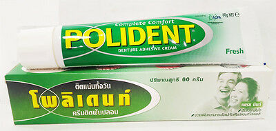 Polident 60g Denture Adhesive Cream Glue Complete Comfort Teeth Gums Fresh New