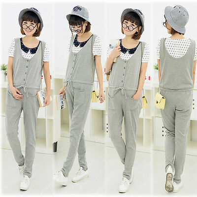 Prenancy Maternity Dungarees Trousers Pants Overalls Jumpsuits Rompers Gray 8 10