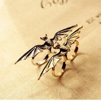 Adjustable Lovely Flying Bat Style Double Ring in Ancient Bronze and Silver