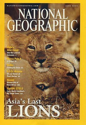 National Geographic Magazine June 2001 Asia's Lions,Chile Caves,USS Arizona