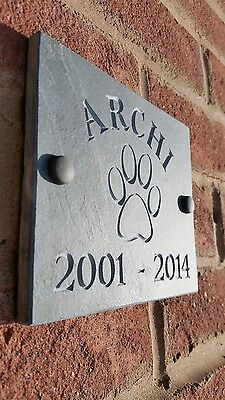 "Personalised Engraved Slate  Any Pet Memorial Grave Marker Plaque Dog, Cat 6""x5"""