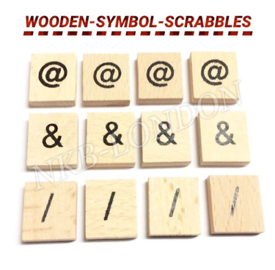 100/200 Wooden Scrabble Tiles Black Numbers For Crafts - Uk Seller - Wood