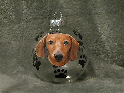 "Hand Made Short Hair Dachshund 3"" Glass Christmas Ornament / Ball"