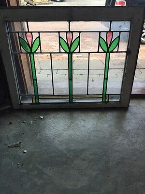 Sg 859 Six Available Price Separate Antique Stainglass Tulip Window
