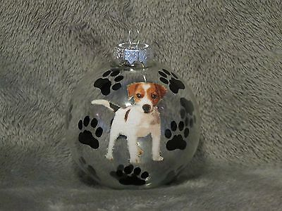 """Hand Made Jack Russell Terrier 3"""" Glass Christmas Ornament / Ball"""
