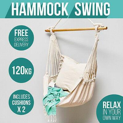 Deluxe CREAM Hanging Hammock Chair Swing INCLUDES 2 x luxuriously Soft Cushions