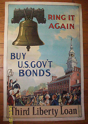 Original Antique WW1 Poster, Third Liberty loan Bond 1917 WW 1