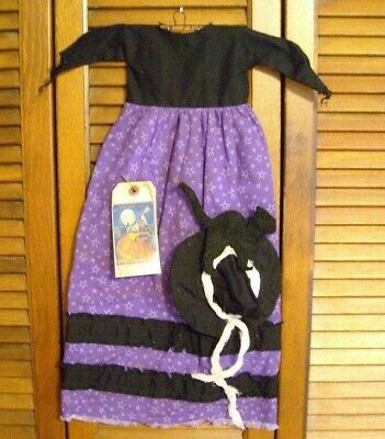 Prim WALL DRESS w/hanger Primitive Decor PURPLE WITCH W/HAT and CAT