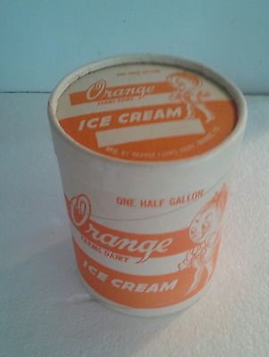 """RARE""Unused Orange Farms Dairy Ice Cream Cylindrical One Half Container N/Mint"