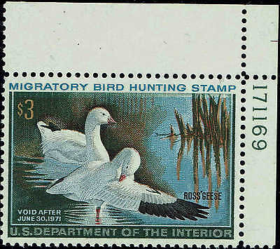"""Rw#37 Plate #171169 1970 $3 """"Ross's Geese"""" Duck Stamp Mint-Og/Nh--Vf"""