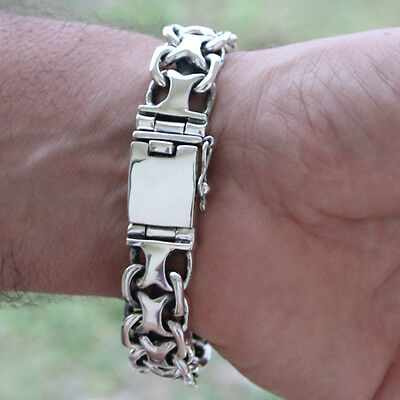 "925 Solid Sterling Silver Men Biker Heavy Wide Bracelet Men's Size 21cm 8.5"" 80g"