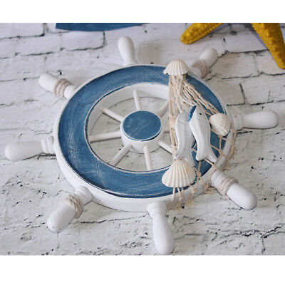 9inch Beach Wooden Boat Ship Steering Wheel Fishing Net Home Wall Decor #4